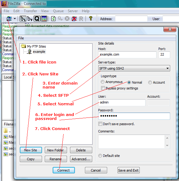 SFTP using FileZilla